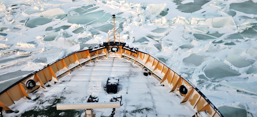 A ship bow in the ice.