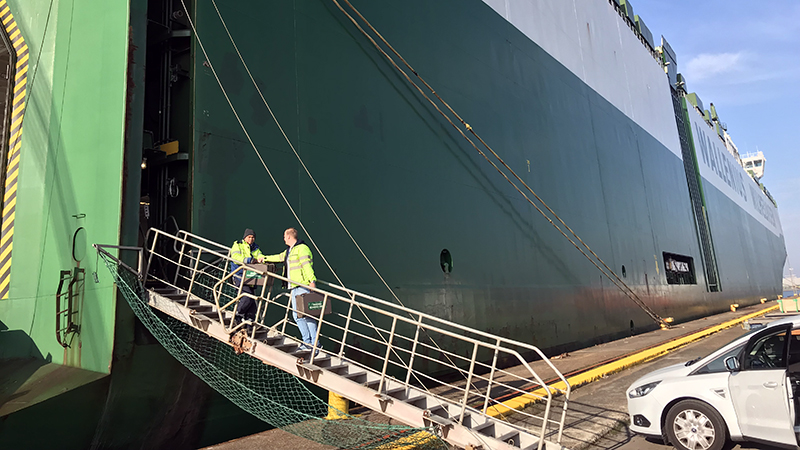 Our field representative on the gangway.